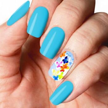 Adesivo para Unha - Borboletas Coloridas Fundo Azul